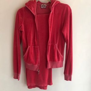Coral Velour Juicy Couture Hoodie Track Suit S M